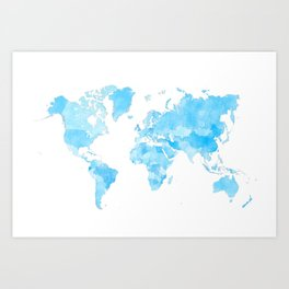 Distressed vintage world map in shades of blue Art Print