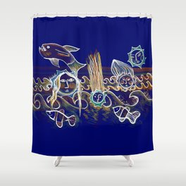 More Suns for Life at Deep Blue Shower Curtain