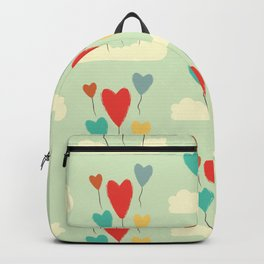 Heart Balloons above the Clouds Backpack
