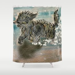My dog fetching a stick Shower Curtain
