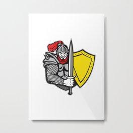 Knight Full Armor Open Visor Sword Shield Retro Metal Print