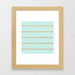Modern pastel green faux gold glitter stripes pattern Framed Art Print