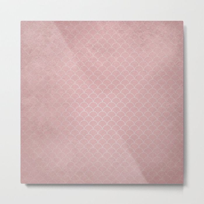 Grunge textured rose quartz small scallop pattern Metal Print