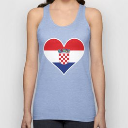 Croatian Flag Heart Unisex Tank Top