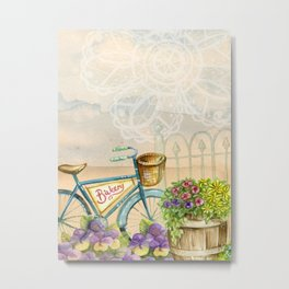 Old bike and flowers watercolor painting Metal Print