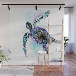 Sea Turtle Underwater Scene Artwork, turquoise blue, gray design beach Wall Mural
