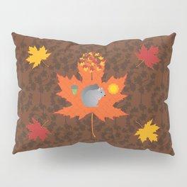 Grey Squirrel Autumn Pattern Pillow Sham