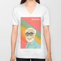 hayao miyazaki V-neck T-shirts featuring Miyazaki by Perry Misloski