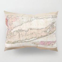 1842 Mather Map of Long Island, New York Pillow Sham