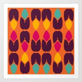 Purple Blue Yellow Pink Petal Abstract Art Print