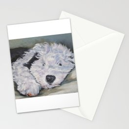 OES Old English Sheepdog dog art portrait from an original painting by L.A.Shepard Stationery Cards