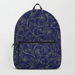 Floral pattern in gold and dark blue. Retro art-deco Backpack