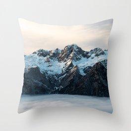 Mountains and fog Throw Pillow