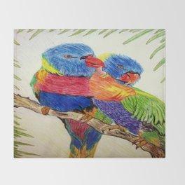 Aboriginal Art - Birds Throw Blanket