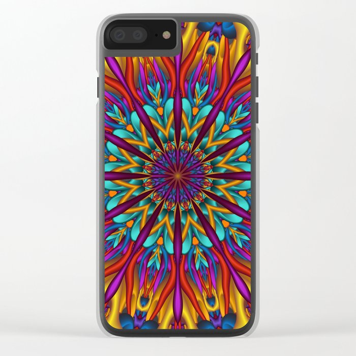 Amazing colors 3D mandala Clear iPhone Case