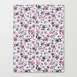 Watercolor floral pattern n.4 on pale pink Canvas Print