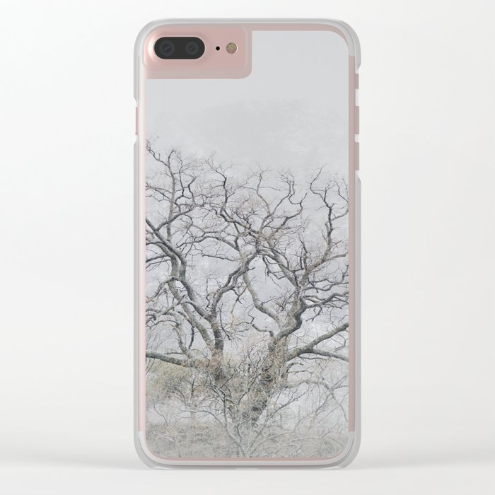 """King of the Mountain"". Foggy and snowy mountain. Clear iPhone Case"