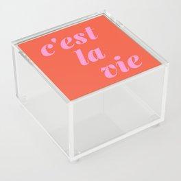 C'est La Vie French Language Saying in Bright Pink and Orange Acrylic Box