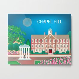 Chapel Hill, North Carolina - Skyline Illustration by Loose Petals Metal Print