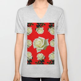 WHITE ROSES RED GARDEN DESIGN Unisex V-Neck