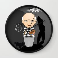 pablo picasso Wall Clocks featuring Kokeshi artist Pablo Picasso by Pendientera