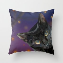 There's No Halloween Without Black Cats Throw Pillow