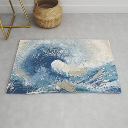 The Great Wave Abstract Ocean Rug