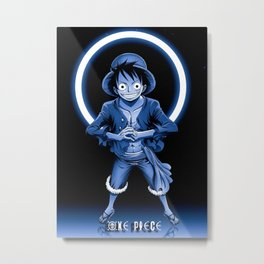 One Piece Monkey Modern Glow Metal Print