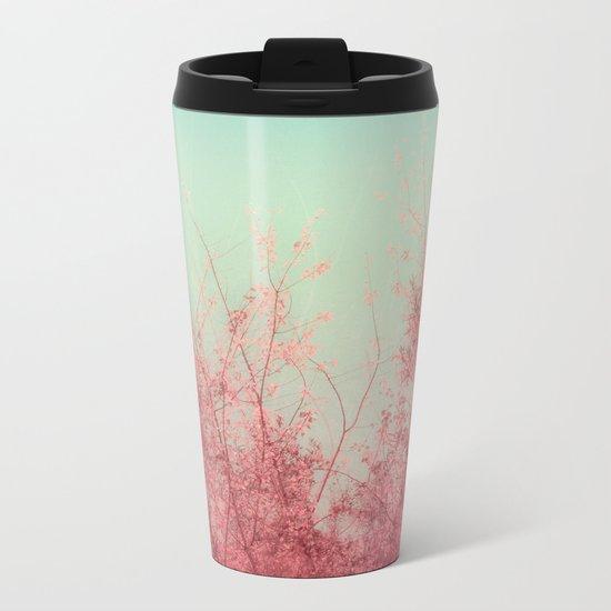 Harmony (Mint Blue Sky, Coral Pink Plants) Metal Travel Mug