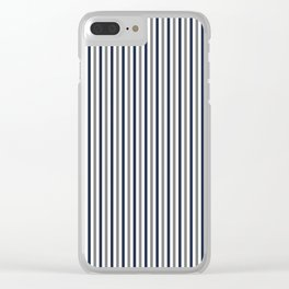 Navy White And Grey Vertical Stripes Clear iPhone Case