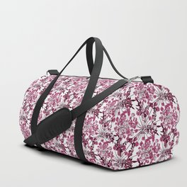 Laced crimson flowers on a white background. Duffle Bag