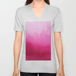 Modern fuchsia watercolor paint brushtrokes Unisex V-Neck