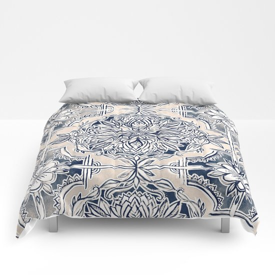 Brush and Ink Watercolor Pattern in Indigo and Cream Comforters
