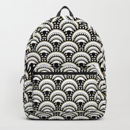 Monochrome and Gold Art Deco Scallops Backpack