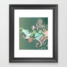 Hummingbird leaf tangle, green pale pink Framed Art Print