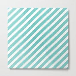 Tiffany Aqua Blue Diagonal Stripes Metal Print