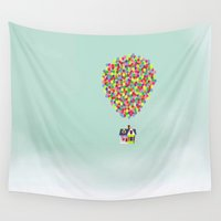 balloons Wall Tapestries featuring Up by Derek Temple
