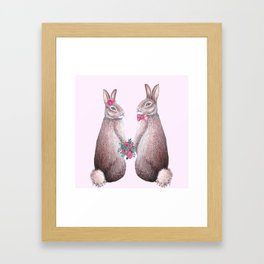 Rabbits in love, bride and groom, watercolor, wedding, engagement, romantic Framed Art Print
