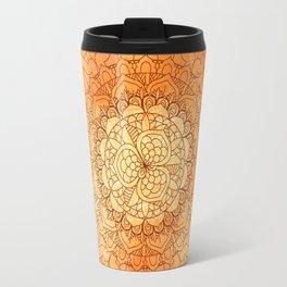 Watercolor Mandala Pattern Orange Travel Mug