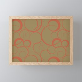Dark Orange and Brown Funky Ring Pattern V45 Accent Shades To Pantone 2021 Colors of the Year Framed Mini Art Print