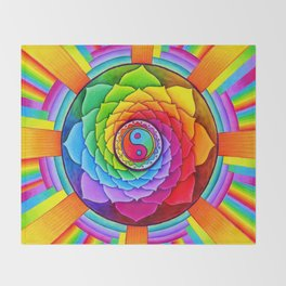 Healing Lotus Rainbow Yin Yang Mandala Throw Blanket