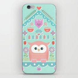 Scandinavian Folk Style Owl Bird House iPhone Skin