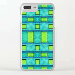Painted blue and green parallel bars Clear iPhone Case