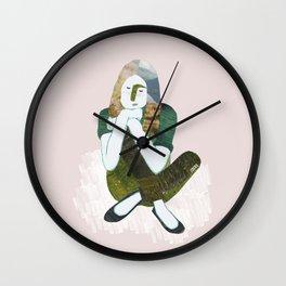 Zen girl illustration/collage Wall Clock