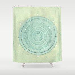 key lime polka dot coal hole cover (london) Shower Curtain