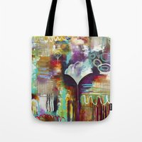 "flora bowley Tote Bags featuring ""Spirit Works"" Original Painting by Flora Bowley by Flora Bowley"
