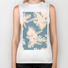 Island Vacation Hibiscus Palm Coral Teal Blue Biker Tank