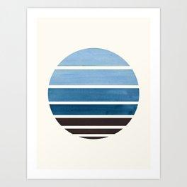 Blue Green Mid Century Modern Minimalist Circle Round Photo Staggered Sunset Geometric Stripe Design Art Print