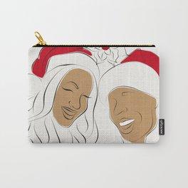 Christmas time, red hat, santa hat, black santa, afro santa. santa girl, xmas bells, love Carry-All Pouch