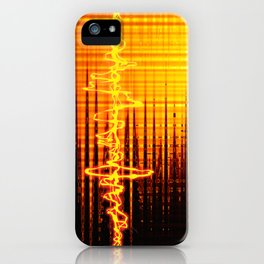 Sound wave orange iPhone Case